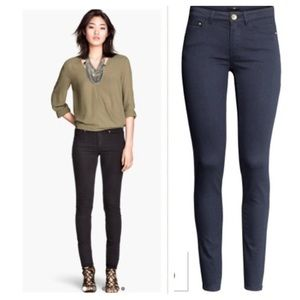 Super stretch navy skinny jeans